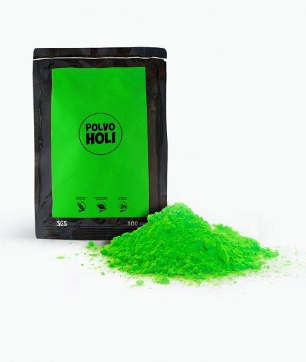 Bolsa de polvos Holi de 100 gramos color verde