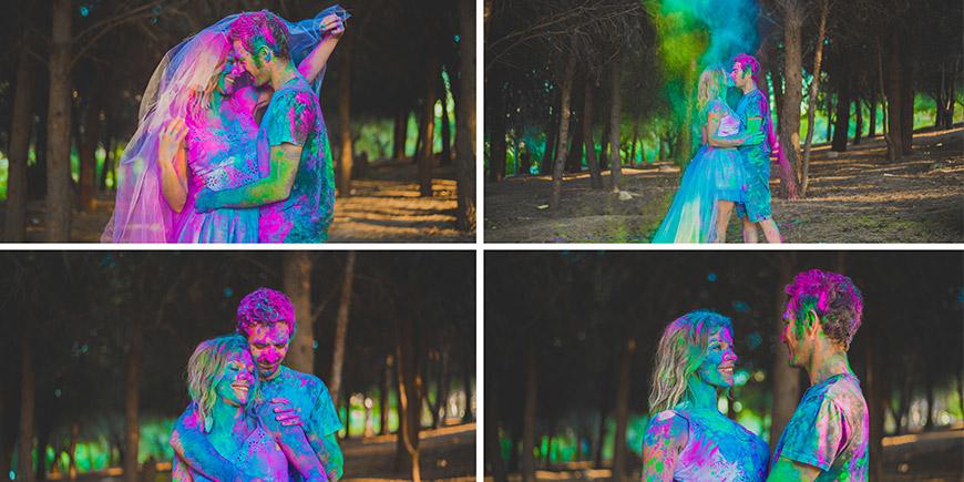 Sesion de fotos preboda con polvo Holi
